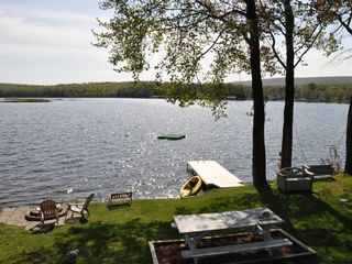 Lake Ariel cottage photo - firepit, picnic table, dock, kayak, swing, floating dock