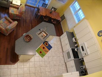 Fully equipped kitchen with large center island.