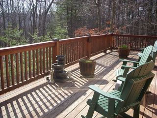 Berkeley Springs house photo - Large rear deck overlooking woods with seasonal mountain views.