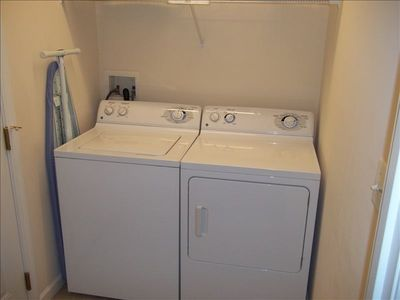 Few vacation props have washer/dryer/ironing facilities. WWW has them.