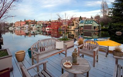 Backyard view from private deck, of the homes along your waterway street.