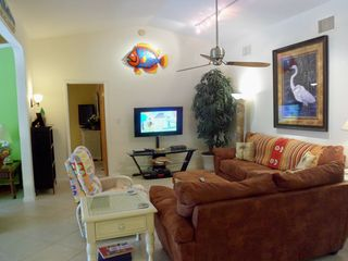 Sanibel Island house photo - Living Room with 46 inch HD LED TV with DVR and comfy seating!!!