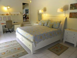 Bonaire house photo - Spacious master bedroom with king bed, private bath and exit to private gardens