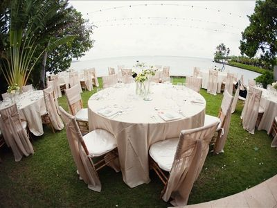 Outdoor seating for wedding or event, please visit kathyirelandweddings