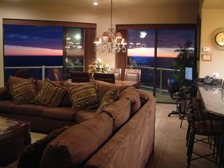 Puerto Penasco condo photo - Open living room + dining room, and built-in granite computer kiosk