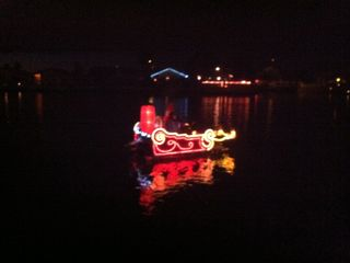 One of several boats in the Christmas parade