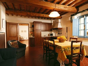 A Tuscan style kitchen fully equipped