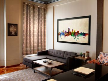 Cleveland condo rental - Living Room with modern couch, coffee table and 55' HD Smart TV