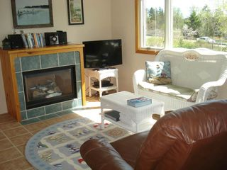 Acadia National Park cabin photo - Living area with fireplace
