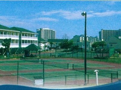 6 lighted well maintained tennis courts are one door away