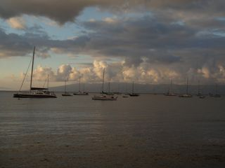 Kihei condo photo - evening clouds over Lahaina harbor