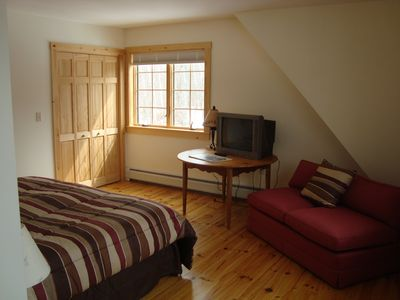 Carrabassett Valley house rental - Master bedroom (King) - view of Sugarloaf - en-suite bath