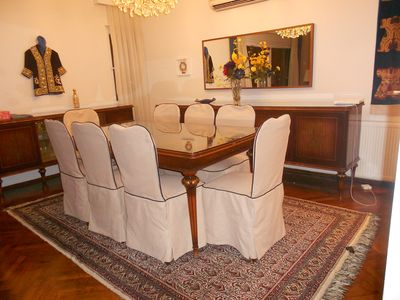 Dining room accommodates 8 guests comfortably.