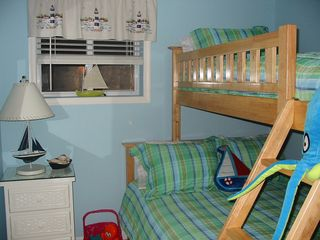 Wildwood Crest condo photo - Bedroom #2; full size lower bunk, twin upper bunk!