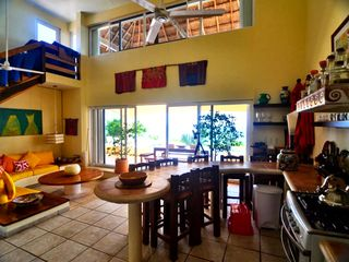 Isla Mujeres house photo - View from kitchen to the upstairs Palapa