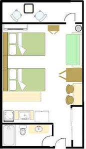 Floor plan for our Hawaiian Inn condo -- 4th floor - oceanfront