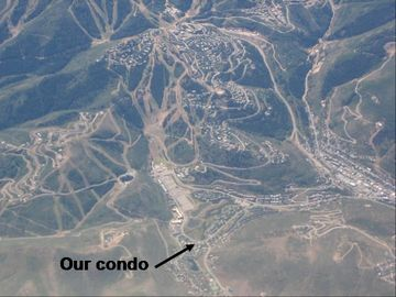 Location of condo from the air. See the DV parking lot? Your fave lower runs?