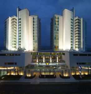 The front of the Beautiful Avista Resort at night...