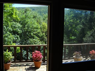 Beautiful panamoric mountain views from inside of the chalet.