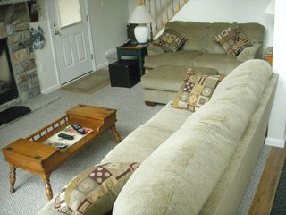 Living room with new queen sleeper/Digital Cable - Towamensing Trails chalet vacation rental photo