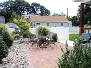 Cape May house photo - Front yard paver patio near grill