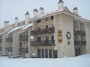 Crested Butte condo rental - Axtel 317 - the first balcony facing Mt. Crested Butte. Upper snowflake.