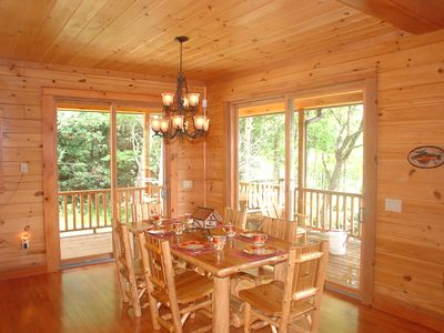 Dining room overlooks lake and mountains!