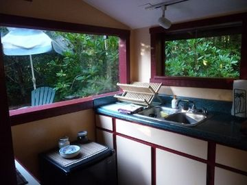Kitchen overlooking decks surrounded by rhododendrons.