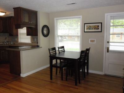 Kitchen & eating area. Kitchen is all new & has basic cooking equipment & dishes
