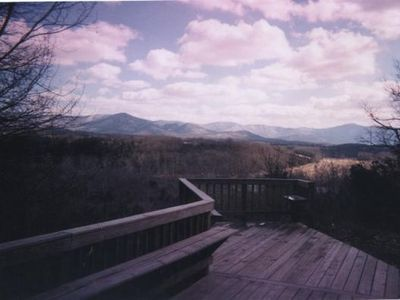 See the Blue Ridge Mtns for miles from the Blue Span Shenandoah Cabin.