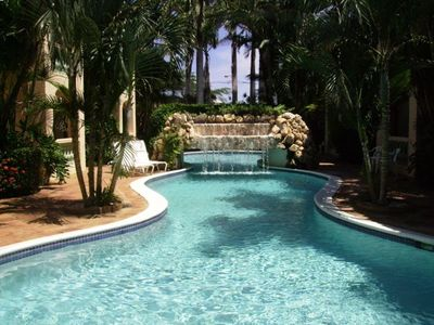 Paradise!  Courtyard Gardens, Pool, and Waterfalls Just Outside Your Door