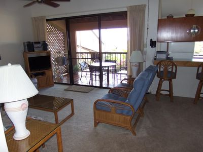 View of lanai and kitchen from living room