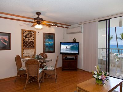 Large TV, dining for 4, and air conditioning throughout the unit