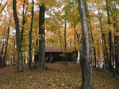 TreeHaven is off the beaten path on Lake Noquebay-woods, privacy and nature