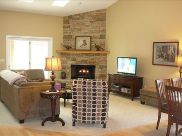 Main Living Area with Fireplace & access to Upper Deck