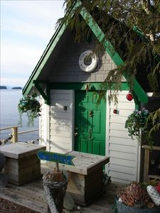 Hidden Cove Boat House at the water's edge