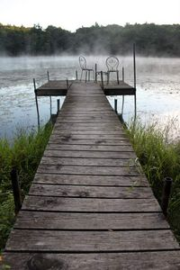 Dock. Great for fishing for bass, bluegill, and northern pike.