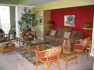 Waikoloa Beach Resort condo photo - Large Living Room opens to a wrap around lanai