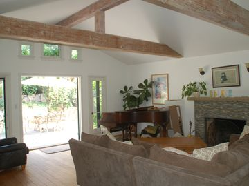 Hope Ranch cottage rental - The great room which invites you to the outside space for indoor/outdoor living