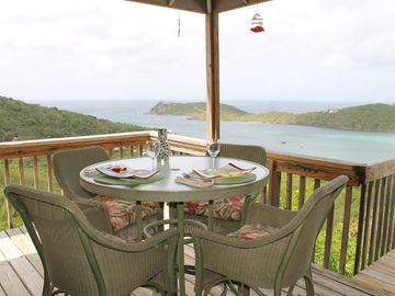 Enjoy an alfresco meal on the covered deck while overlooking the dramatic views.
