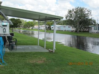 New Port Richey mobile home photo - View from rear patio looking North along the canal.