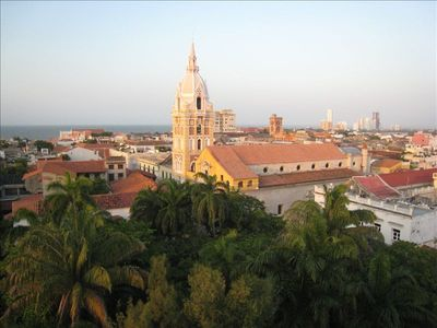 view from shared sun terrace - Plaza Bolivar, the cathedral, the Caribbean