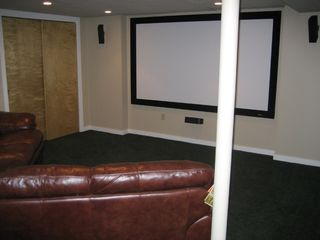 Bretton Woods house photo - Home theater with 9 ft wide screen high definition