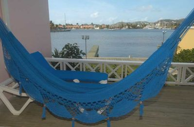 Twin Hammock on Water-front Patio. Ideal for sunbathing or just chilling out.