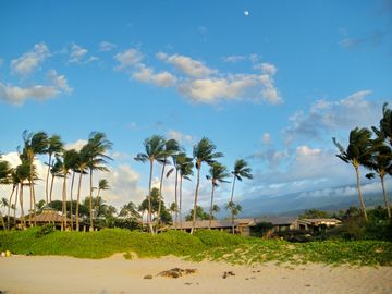 View of Ekahi Beach Pavillion from the beach, Haleakala in the background