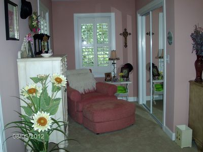 seating area in bedroom