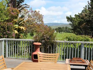 Half Moon Bay estate photo - View from rear deck to the golf course, in the backyard.