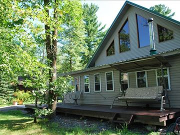 Balsam Lake cabin rental - The front of this beautiful cabin facing the lake.