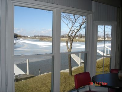 Oak Harbor condo rental - Dock in wintertime as seen from porch