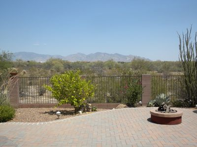 Unobstructed view of Santa Catalina Mountains. Professional landscaping